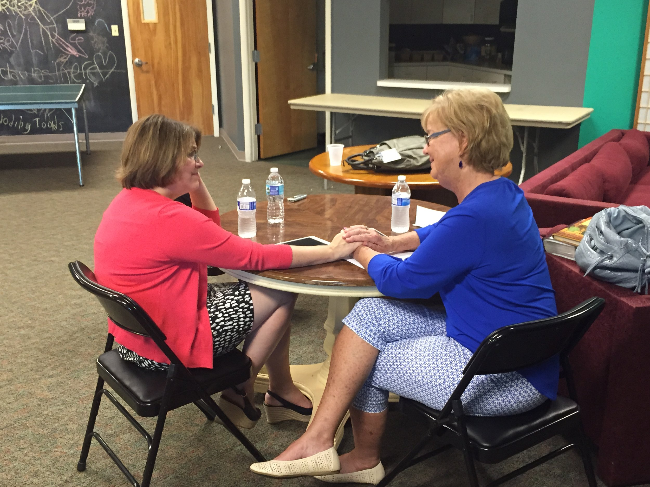 Nancy (left) and Sharon (right) sharing their grief and recording this interview.