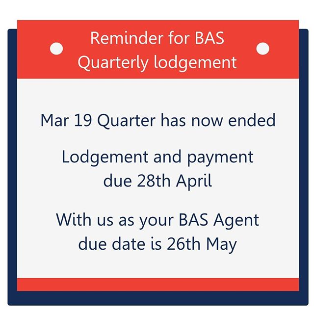 Another quarter close to financial year end!  With us your deadline is extended to 26th May as we are BAS Agents.  Contact us to get your lodgement done and avoid those pesky fines or penalties.  We can also help you catch up with your lodgements if you have fallen behind.  #perthsmallbusiness #perthlife #perthcreatives #perthpop #perthstyle #perthwa #perthcity #perthnow #perthgram #perthsmallbiz #perthtodo #perthwomen #perthwomeninbusiness #smallbusinessperth #perthphotographer #perthbusinesswomen #perthisokay #perthfood #theperthcollective #perthblog #perthcreative #perthproperty #perthdesign #perthfoodies #supportsmallbusiness #workfromanywhere #savvybusinessowner #communityovercompetition #basagent #businesschicks