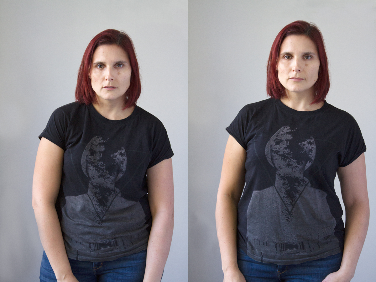 Fig. 1: On the left I am relaxed into a slouch and look rounded and my neck shortened.  On the right I have straightened my psoture and already look slimmer and taller.