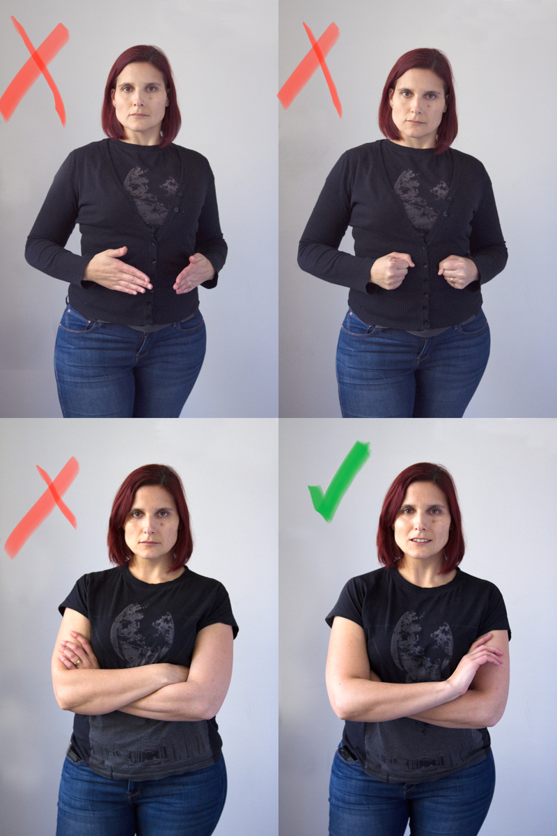 Fig. 3: Avoid stiff 'Barbie hands as demonstrated in the top left image; and try not to clench as in the top right image. When crossing your arms, avoid a 'shut-down' and use gentle hands in the elbow as shown on the bottom right.