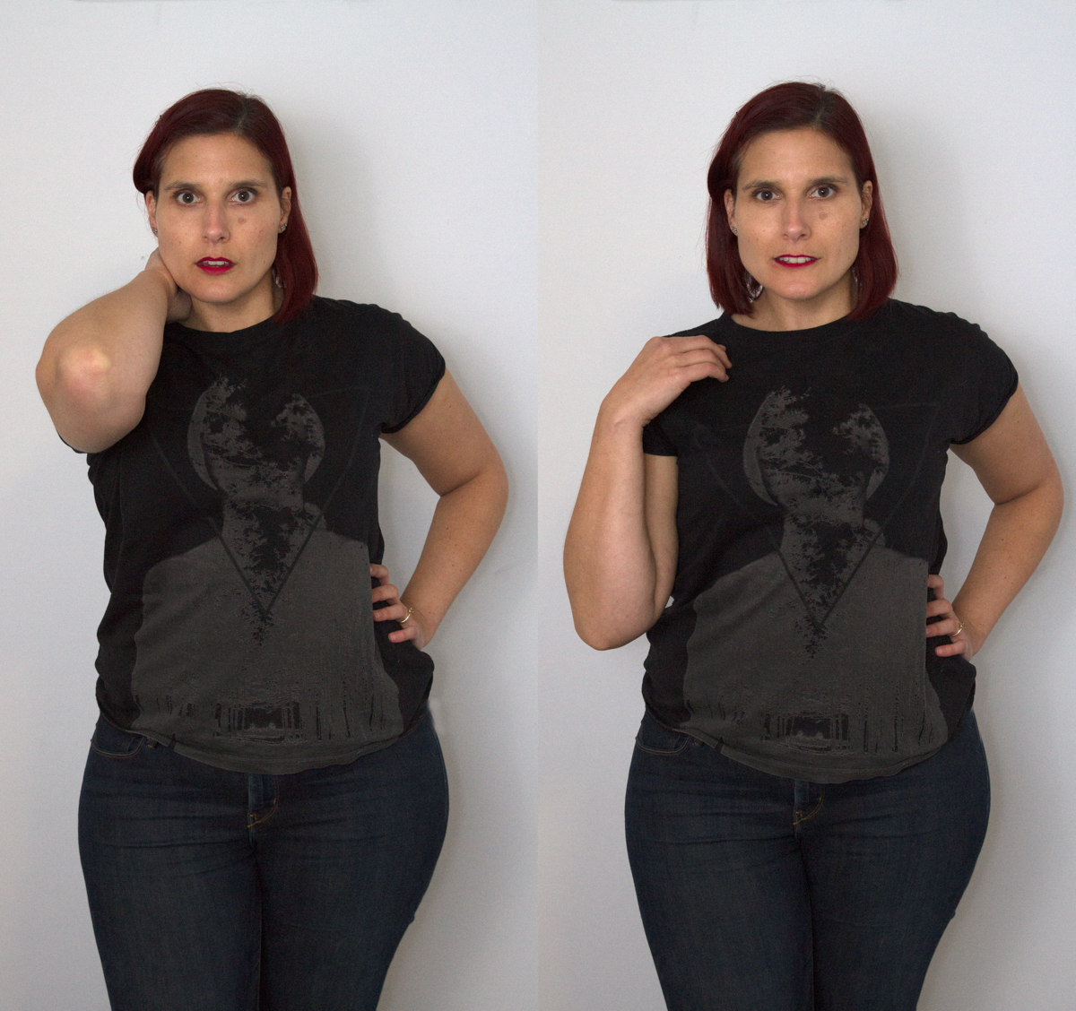 Fig. 4: Oh my! Don't I look shocked on the left?  My arm has shrunk and appears to be all elbow!  By dropping my elbow on the right I have increased the length of my arm into much more normal proportions.
