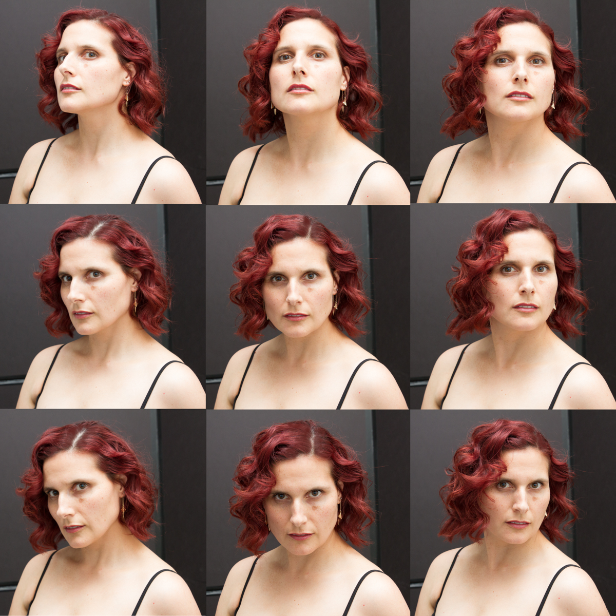 fig 1: Different chin angles. Note that tilting my chin down creates a narrower face and softens my square jawline.