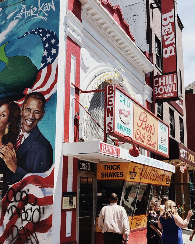 Ben's Chili Bowl is not just your regular American diner. It was one of the three stores that stayed open during the 1968 race riots on U St. It is a building surrounded by rich history and on top of that, there is a beautiful mural that was recently completed on the exterior of the building.