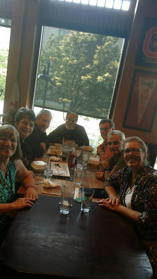 Sharri and I sharing dinner time with Pastor Rich & Kathy, Harold Lund, and Scott & Marianne Studebaker.
