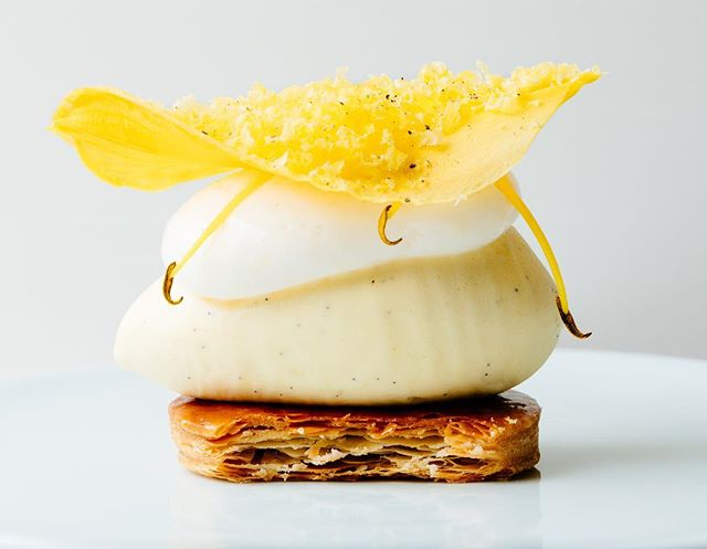 Vanilla Ice Cream | Daylilies, Sweet Cured Egg Yolk, and Caramelized Puff Pastry #elwynboyles #pastrychef #finedining
