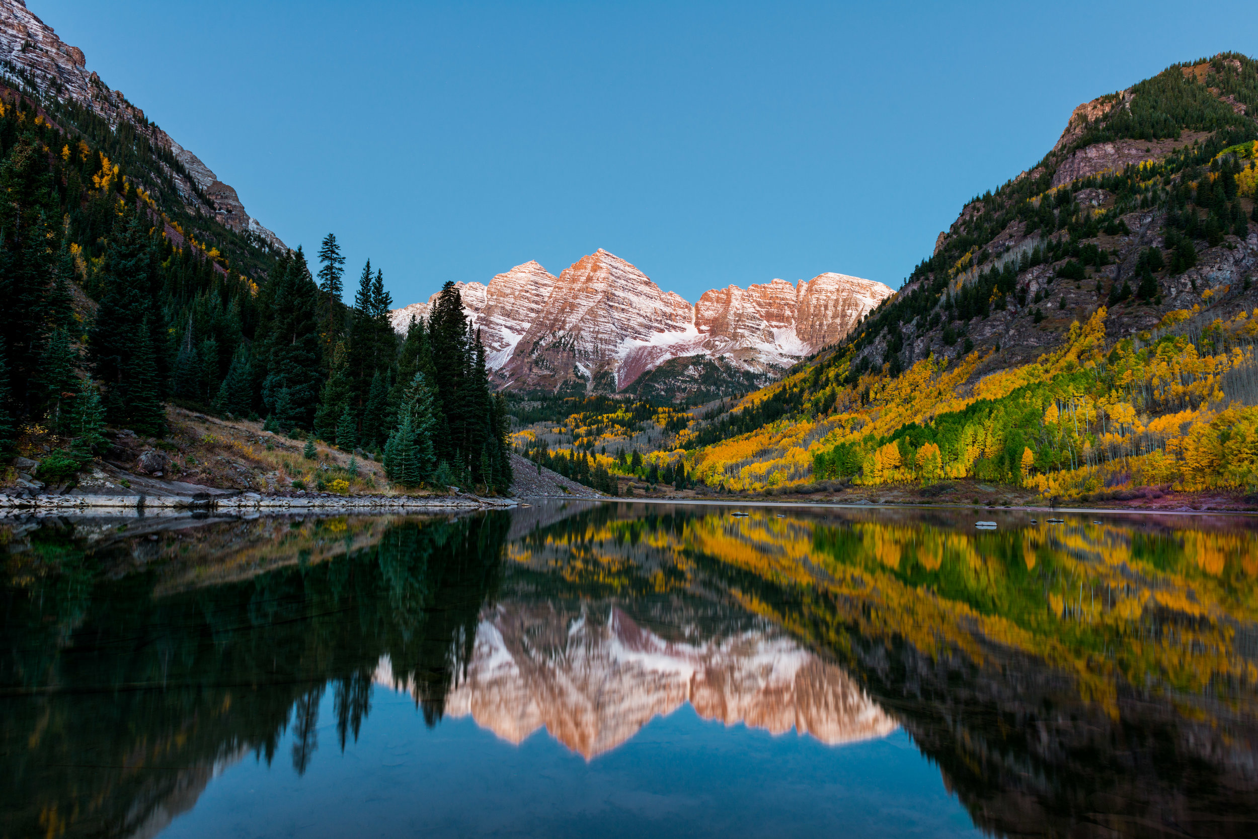 Because I was forced to the left, I didn't get a clear shot of the Maroon Bells. I also did a amateur job of cloning out the other photographers on the right side of the image. In fact, a camera on a tripod is still visible in the image.