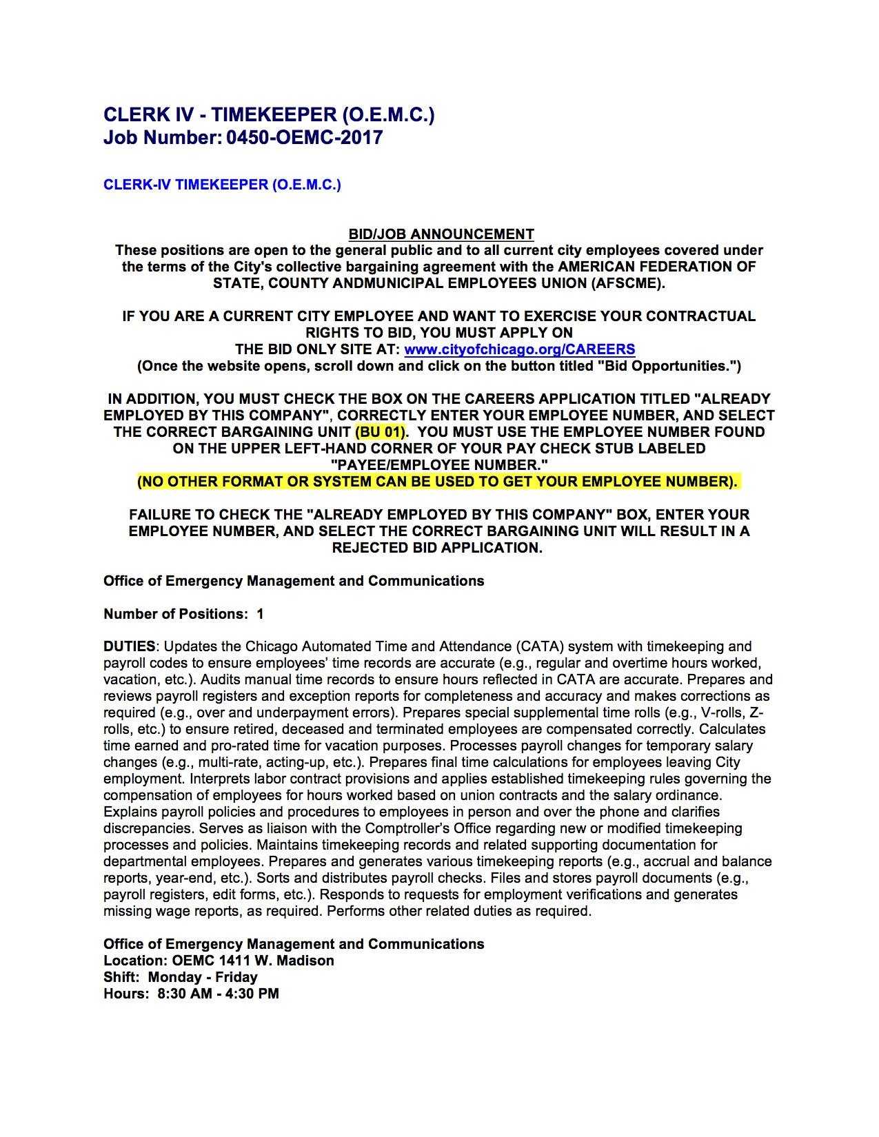 Clerk IV- Timekeeper Job Posting- OEMC.jpg