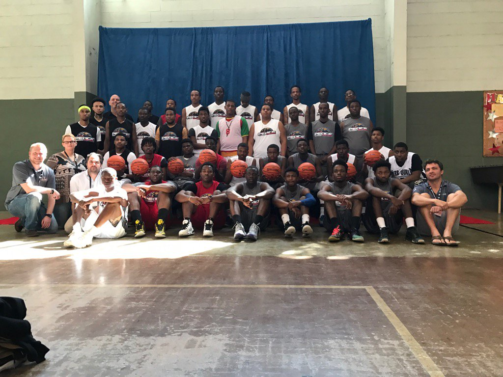 Peace Games participants pose before engaging in a community discussion with NBA leaders