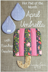 Hot Pad of the Month - April Umbrella with Raindrop Coasters