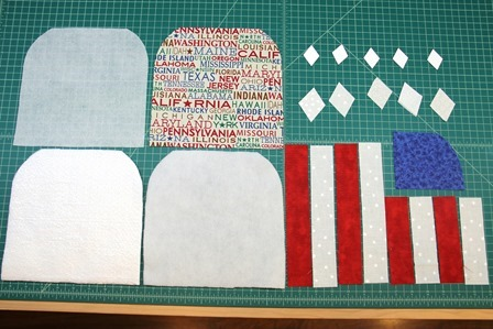 Star and stripe hot pad pieces