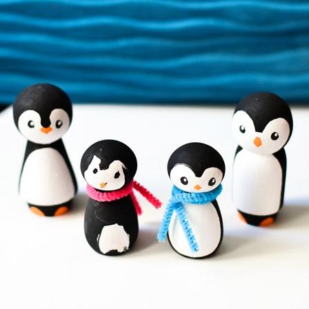 Wooden Peg Penguins from CBC Parents