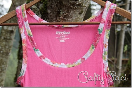 Adding Floral Trim to a Basic Tank - Crafty Staci 10