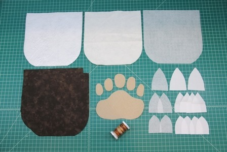 Pieces to make Bear Paw Hot Pad