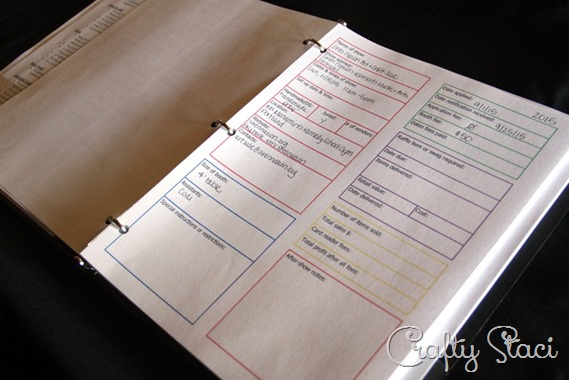 Craft Show Tracking Sheet in use