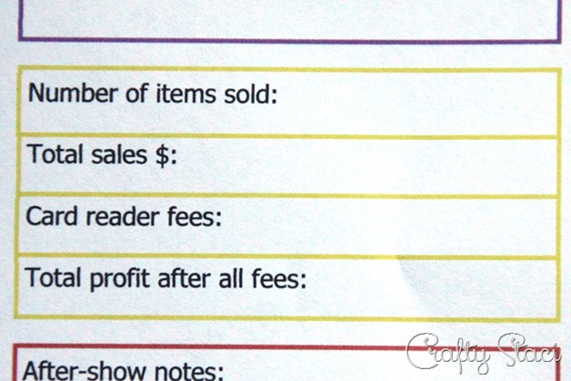 Craft Show Tracking Sheet Sales