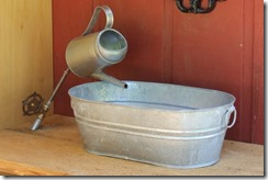 Galvanized Tub Sink and Watering Can Faucet - Crafty Staci 1