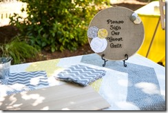Guest book table with quilt sign - Crafty Staci