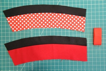 Mickey and Minnie Coffee Cup Sleeves fronts pieced together