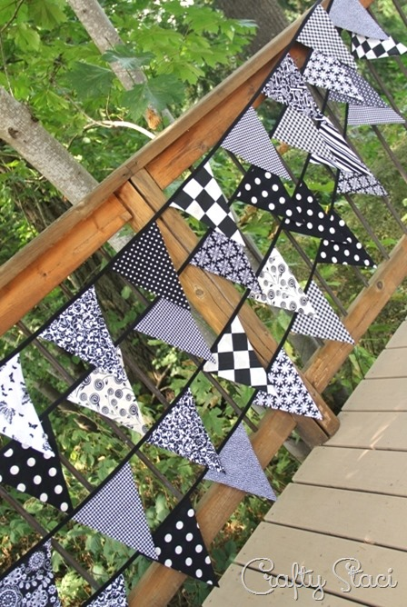 Fabric Bunting with One-Piece Triangles by Crafty Staci