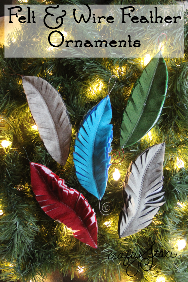Felt and Wire Feather Ornaments from Crafty Staci