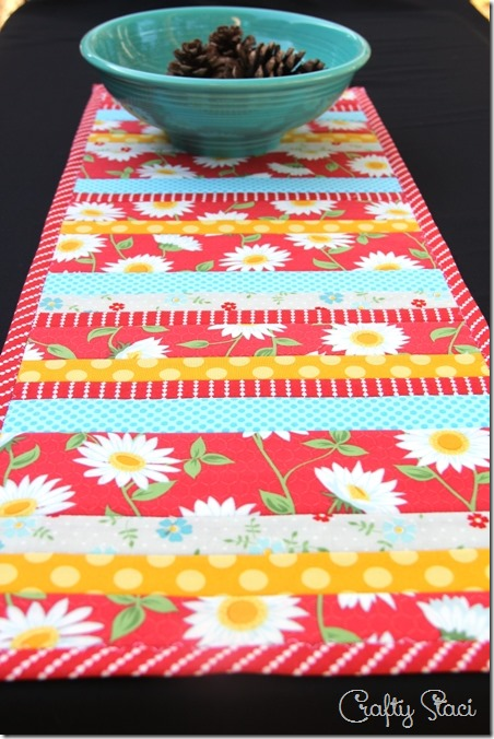 Quilt-As-You-Go Table Runner from Crafty Staci