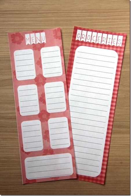 Menu and Matching Shopping List Pad from Crafty Staci