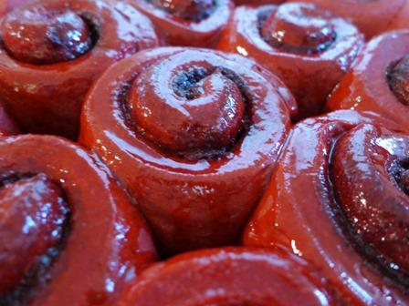 Bleeding Red Velvet Cinnamon Rolls Inspired by The Walking Dead from The Kitchen Overlord