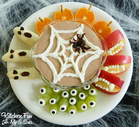 Halloween Greek Yogurt Fruit Dip and Spooky Fruit Snacks from Kitchen Fun with My Three Sons