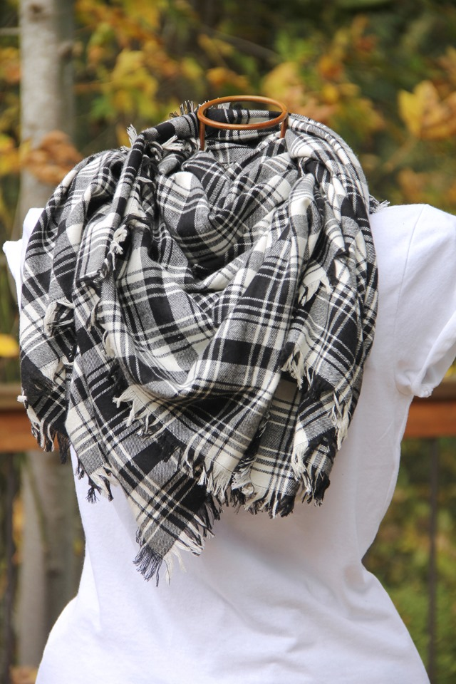 Fringed Blanket Scarf looped