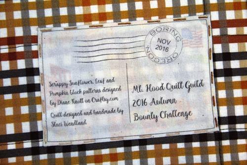 Autumn Bounty Challenge Quilt Label