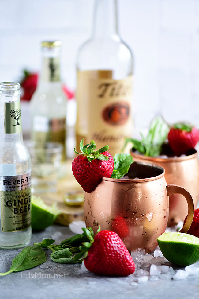 Strawberry Basil Moscow Mule is the perfect summer cocktail. Made like a traditional Mosocw Mule with vodka, ginger been and lime, with the addition of muddled strawberries and basil. Print the recipe at TidyMom.net