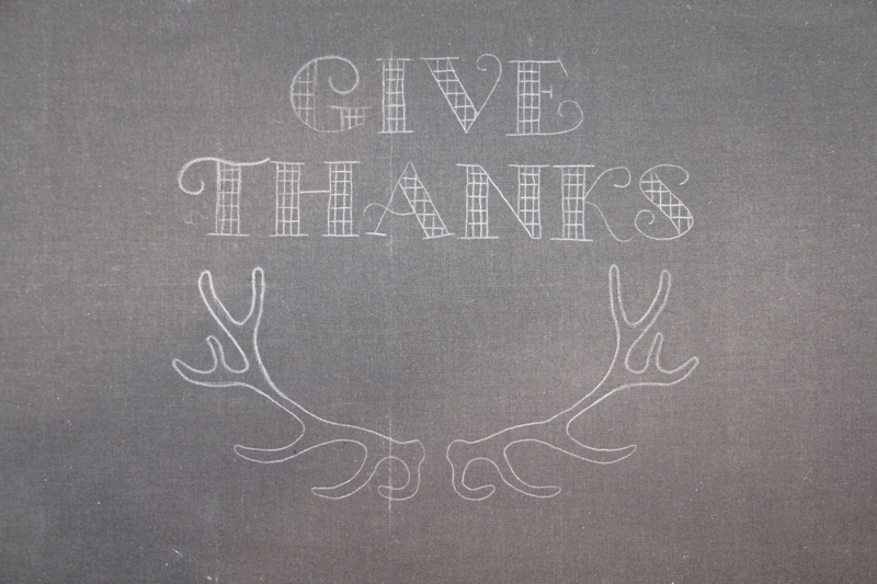 Design transferred for Give Thanks hoop art