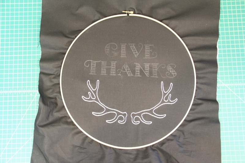 Antlers embroidered on Give Thanks hoop art