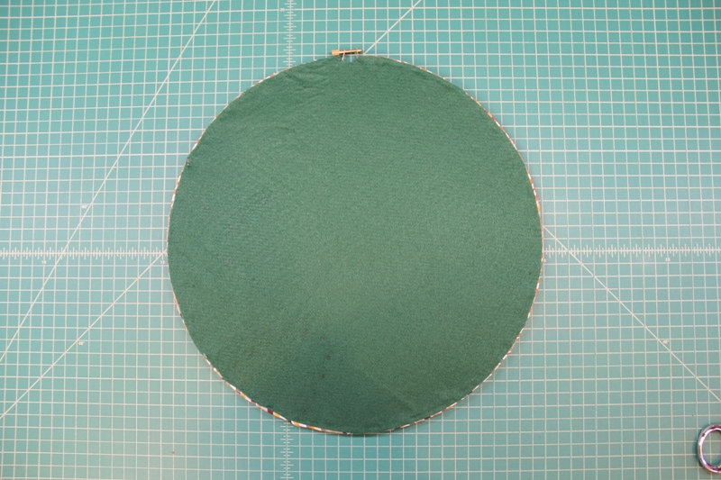 Covering back with felt on Give Thanks hoop art