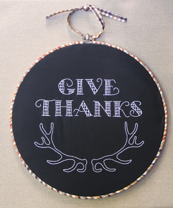 Give Thanks Hoop Art from Crafty Staci