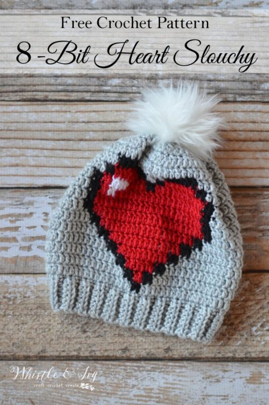 8 Bit Heart Slouchy Hat Pattern from Whistle and Ivy