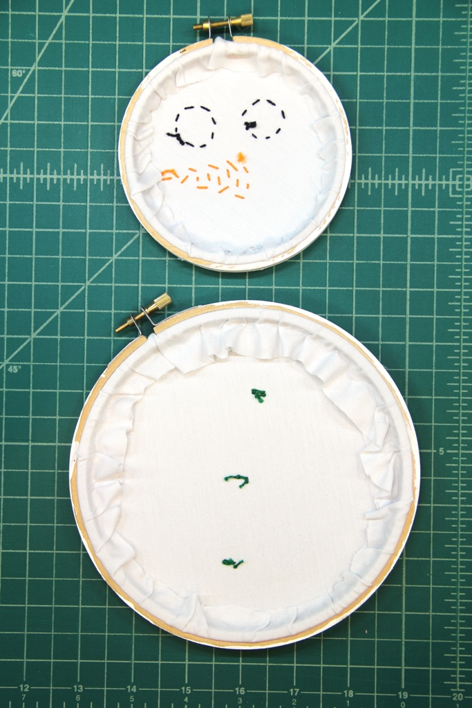 Gluing fabric to inside of hoops