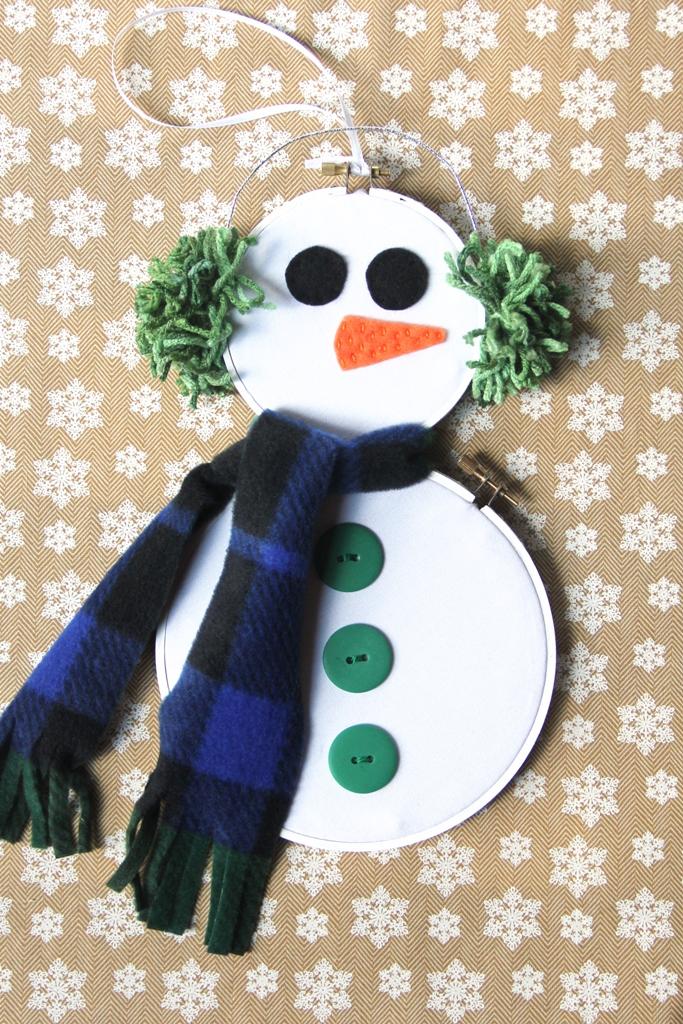 November Snowman Hoop Art