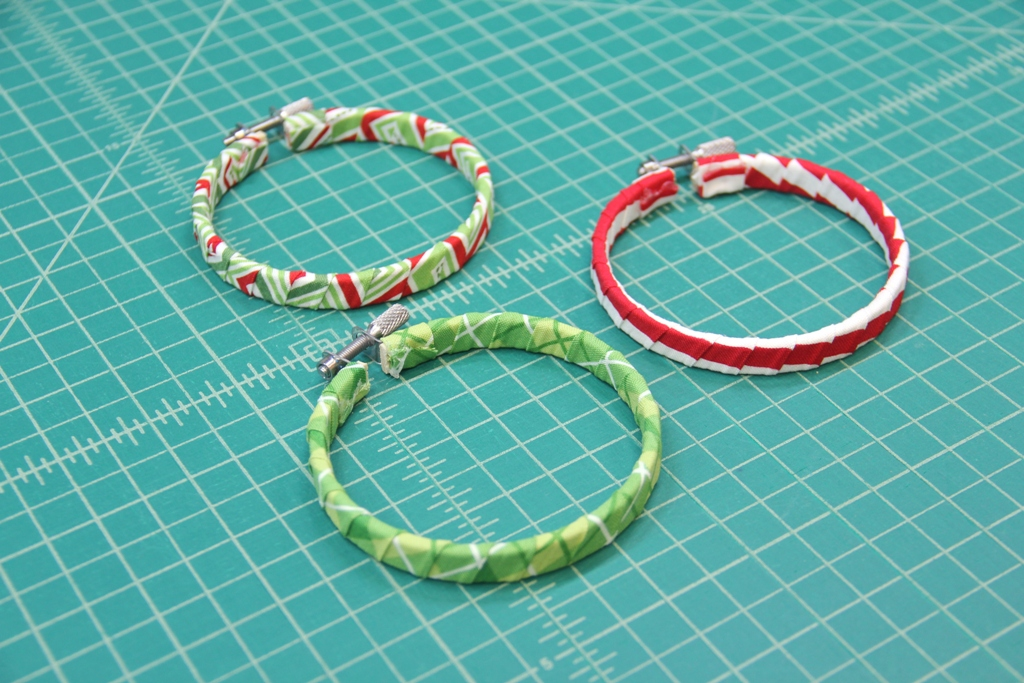 Hoops wrapped with fabric