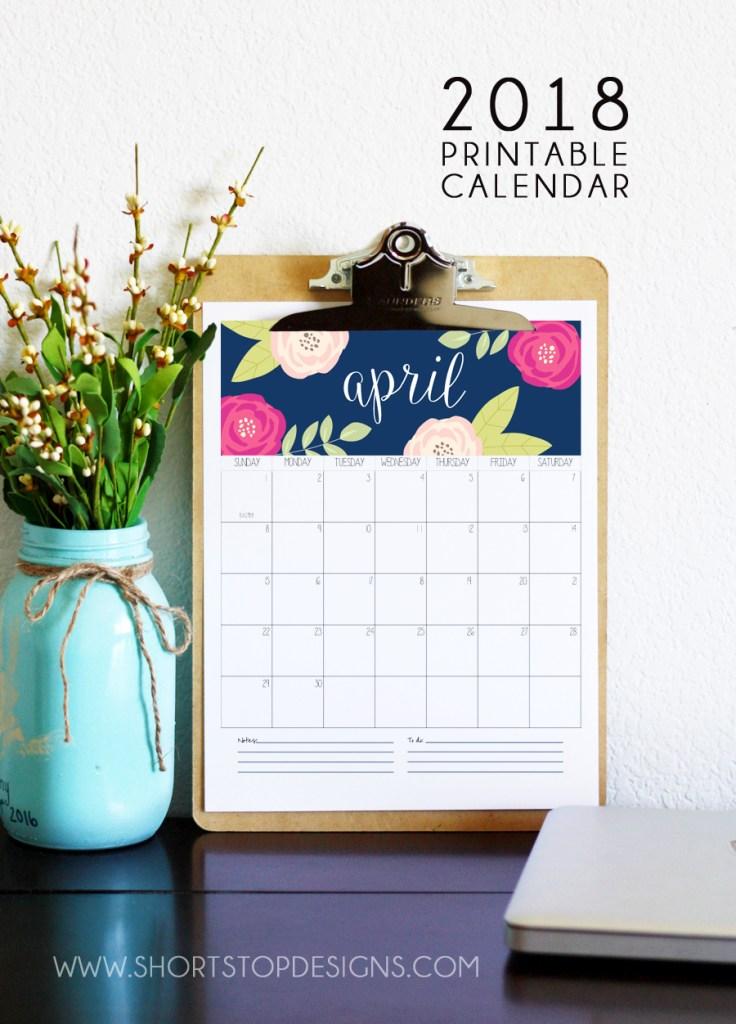2018 Printable Calendar from Short Stop Designs
