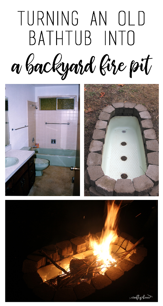 Turning an old bathtub into a backyard fire pit