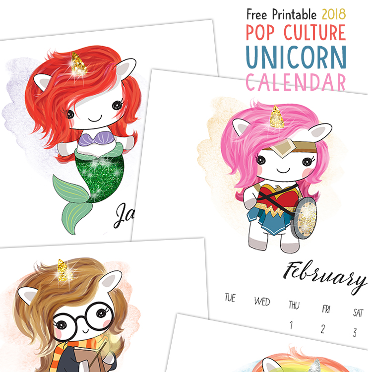 2018 Pop Culture Unicorn Calendar from The Cottage Market