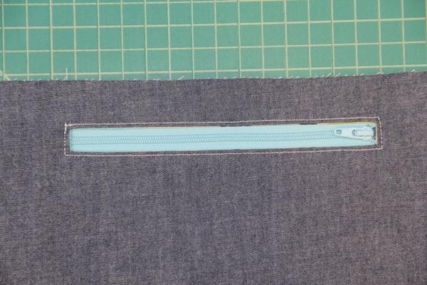 Zipper sewn in place