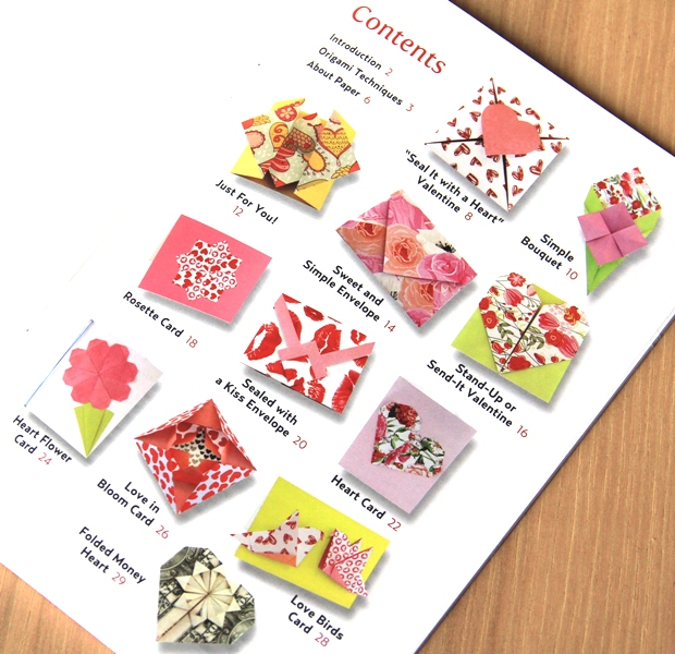 Table of Contents from Origami Love Notes Kit