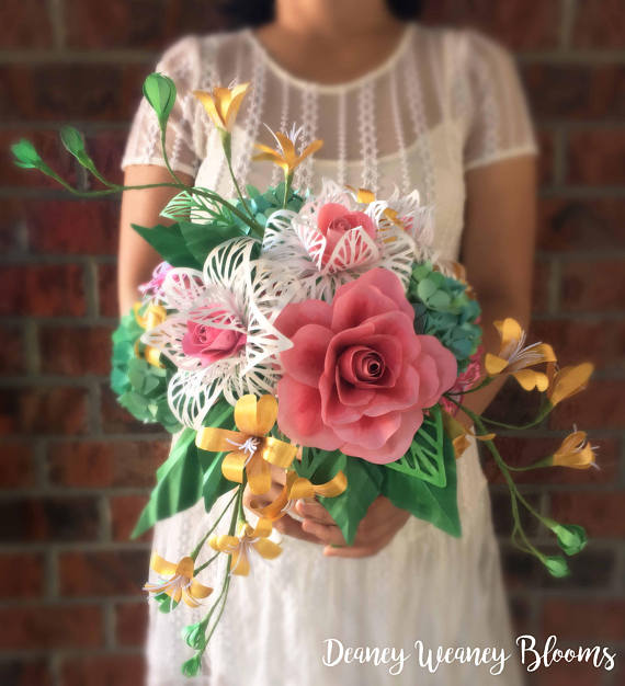 Cascading Paper Flower Bouquet from DeaneyWeaneyBlooms
