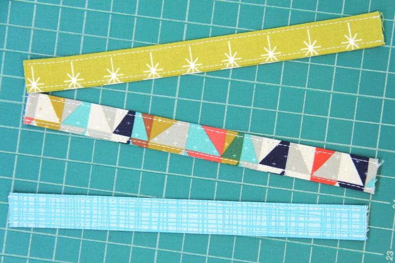 Fold and stitch strips