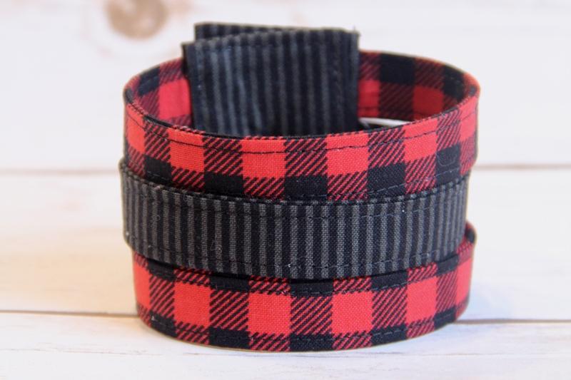 Buffalo Check Fabric Cuff Bracelet on craftystaci.com