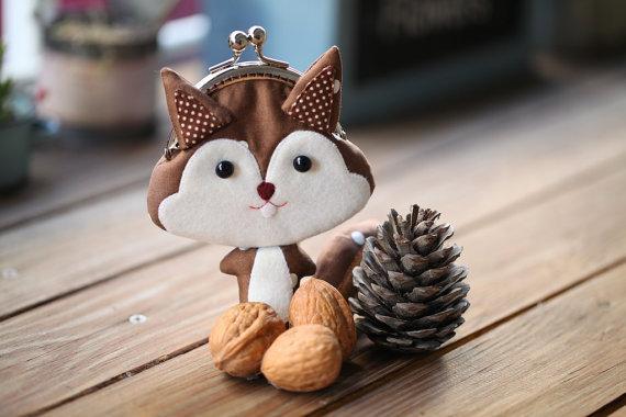 Chestnut Brown Squirrel Clutch Purse from misala