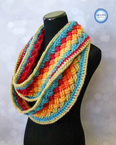 Celtic Infinity Scarf from Left in Knots