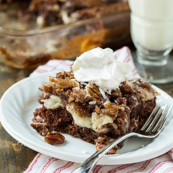 German Chocolate Upside Down Cake from Spicy Southern Kitchen